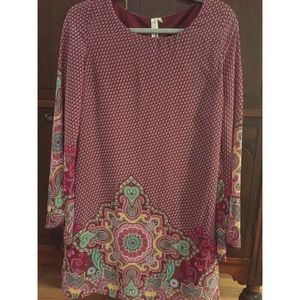 Pink owl colorful bell sleeve dress